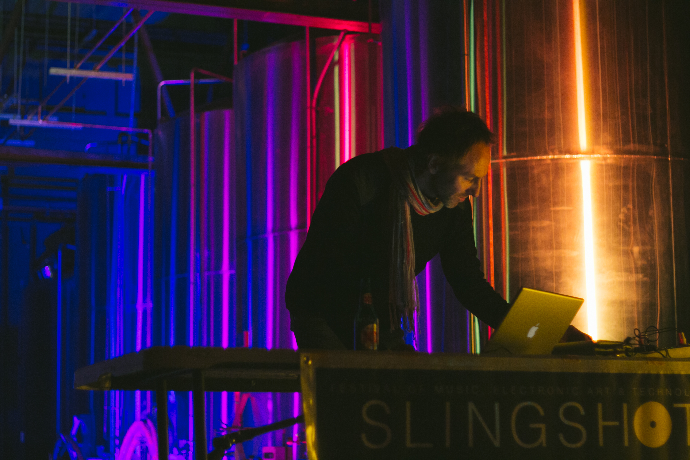 Kai Riedl (one of the head organizers and founders of the event) doing a DJ set at Creature Comforts. Photos by Stephanie Lennox